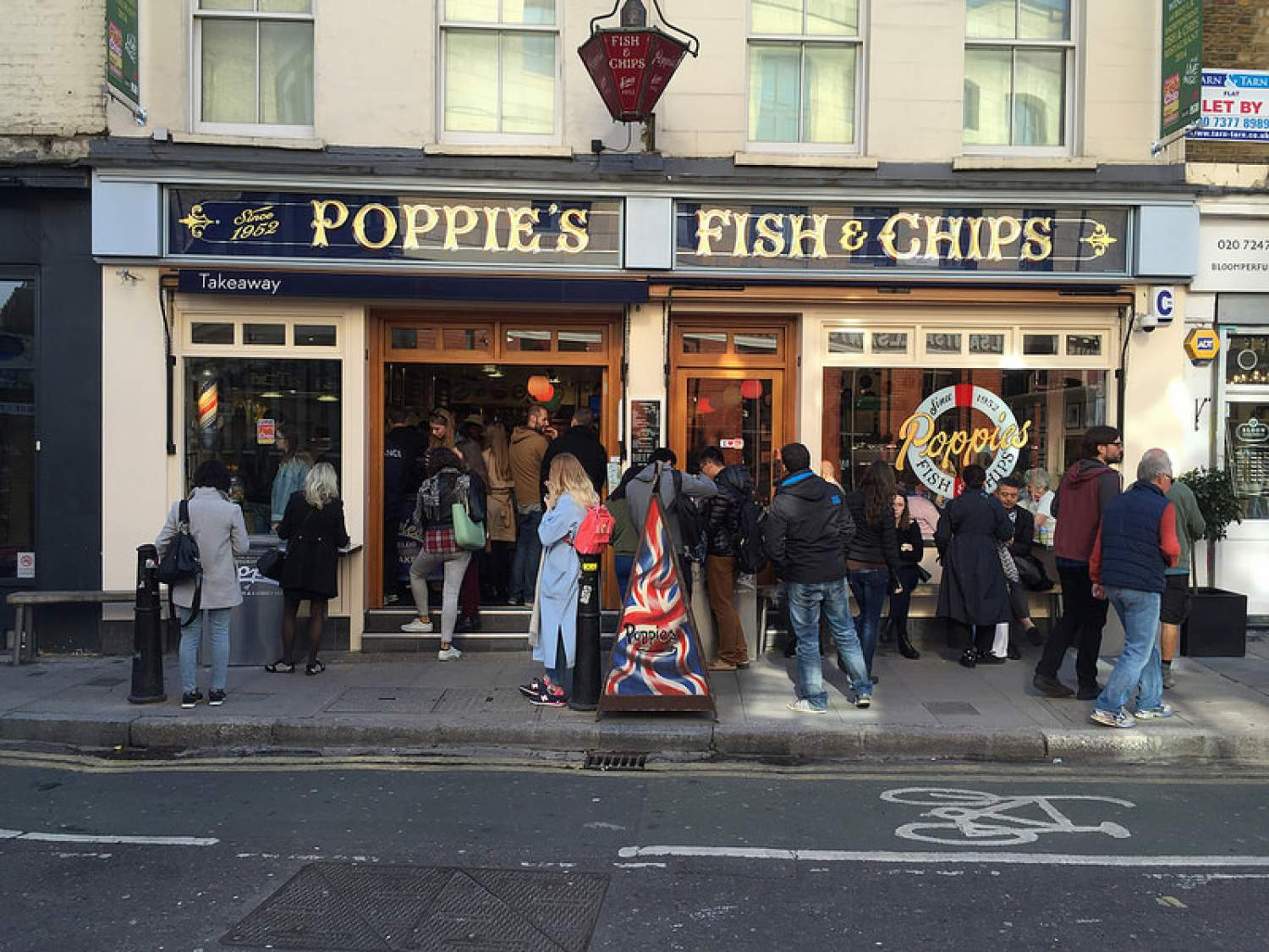 Fish and chips at the Poppies restaurant, England