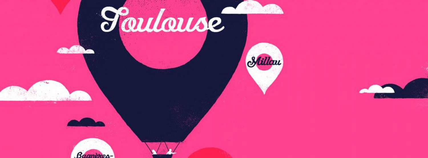 Pink poster of Toulouse, France
