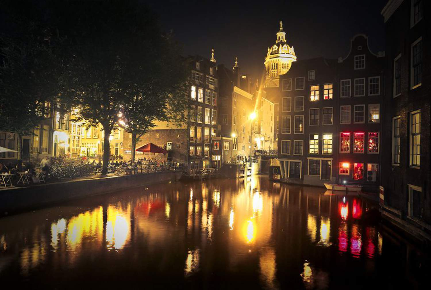 Amsterdam on the canal, at night, Netherlands