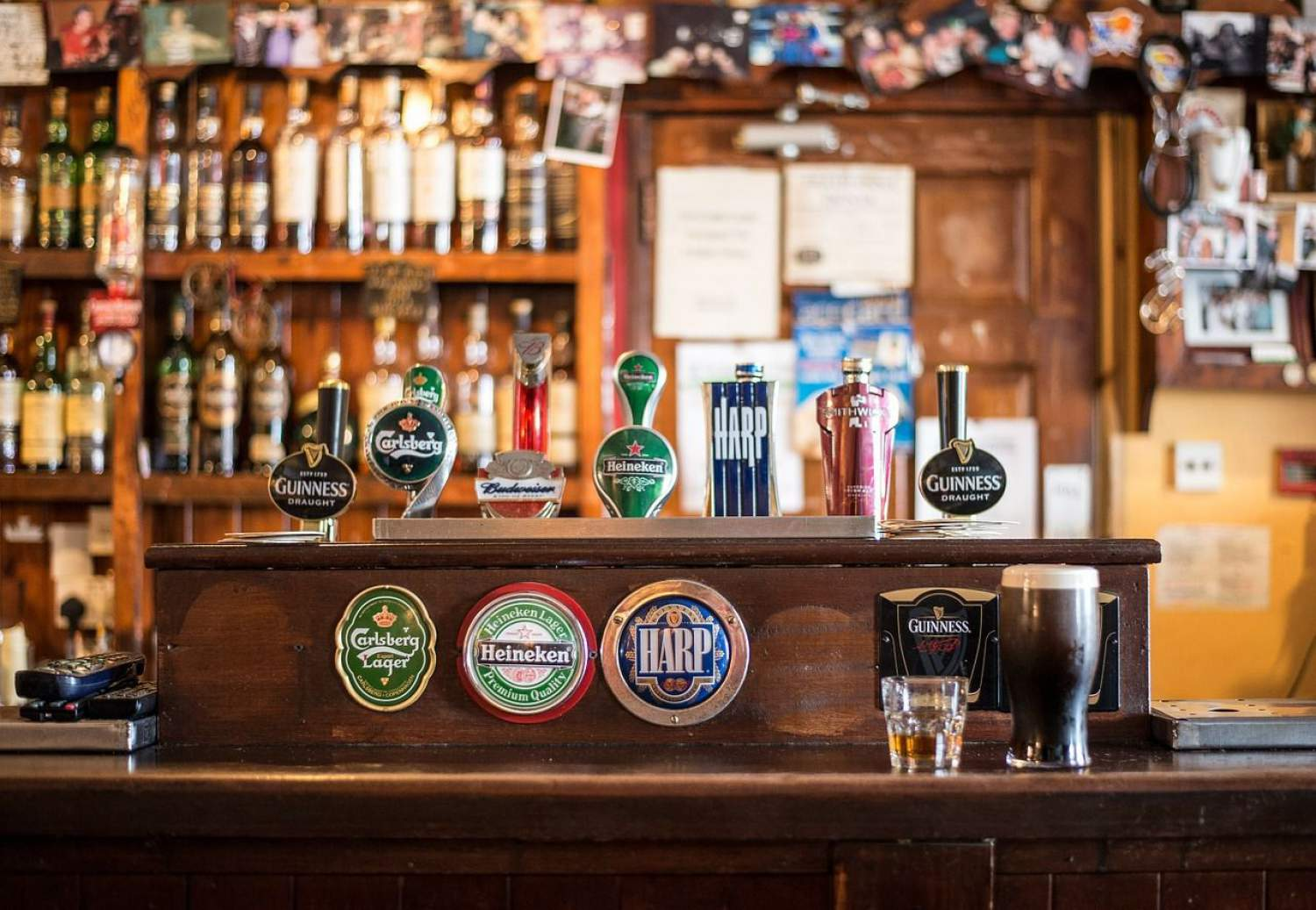 Beer taps into a bar