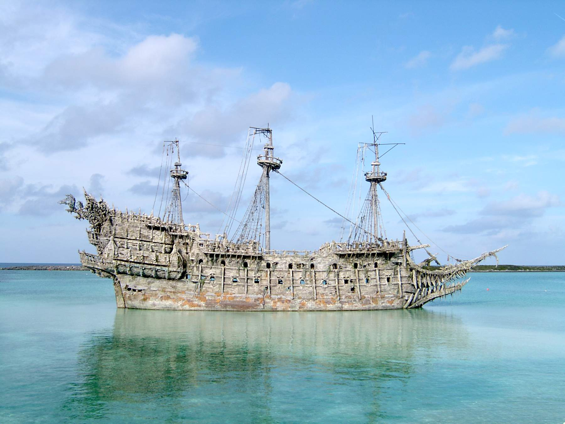 Pirate ship wreckage in the Caribbean