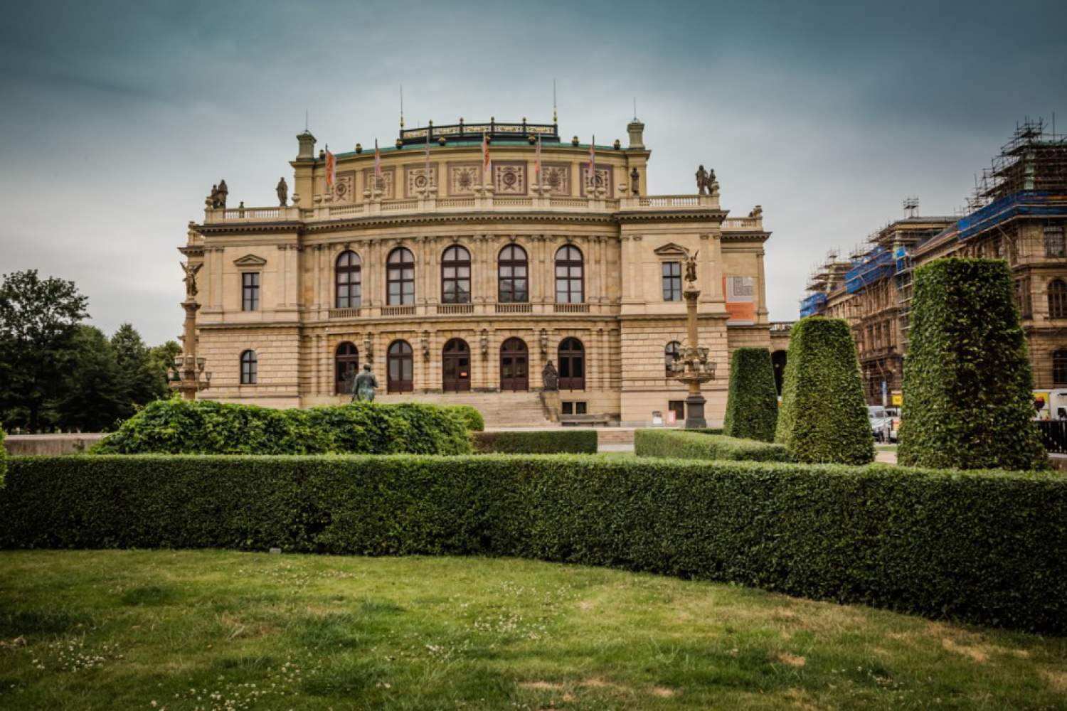 Pass in front of the Rudolfinum building on your tramway tour of Prague
