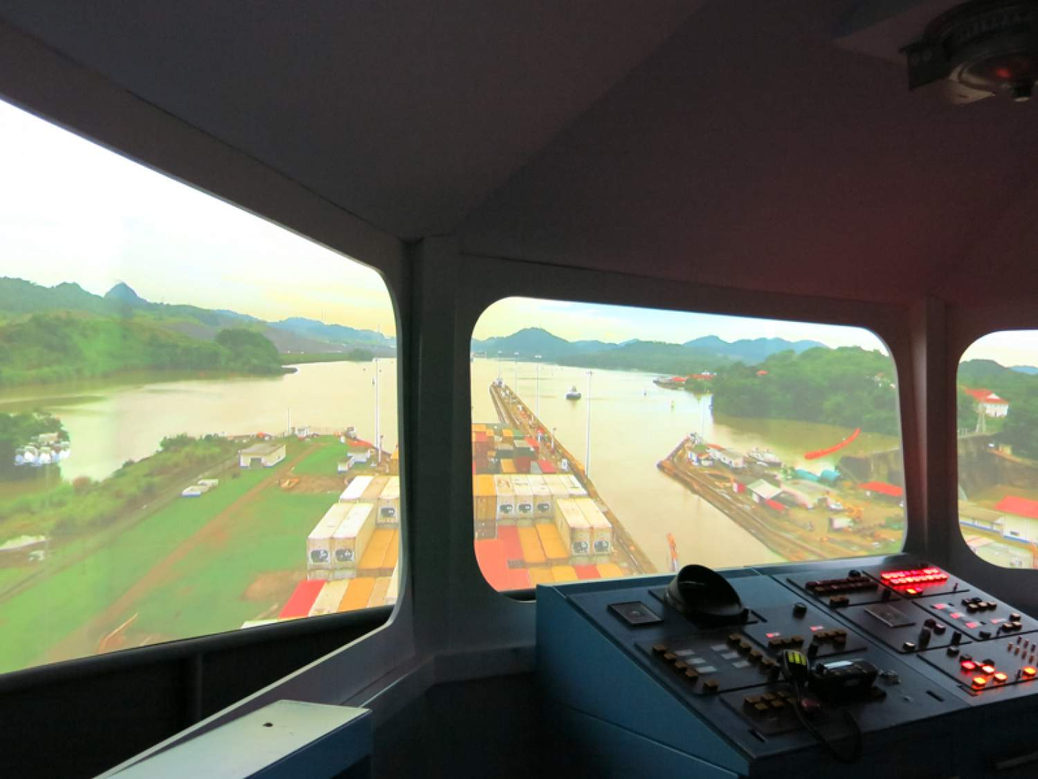 View from the boat at the Miraflores Visitor Centre, Panama Canal