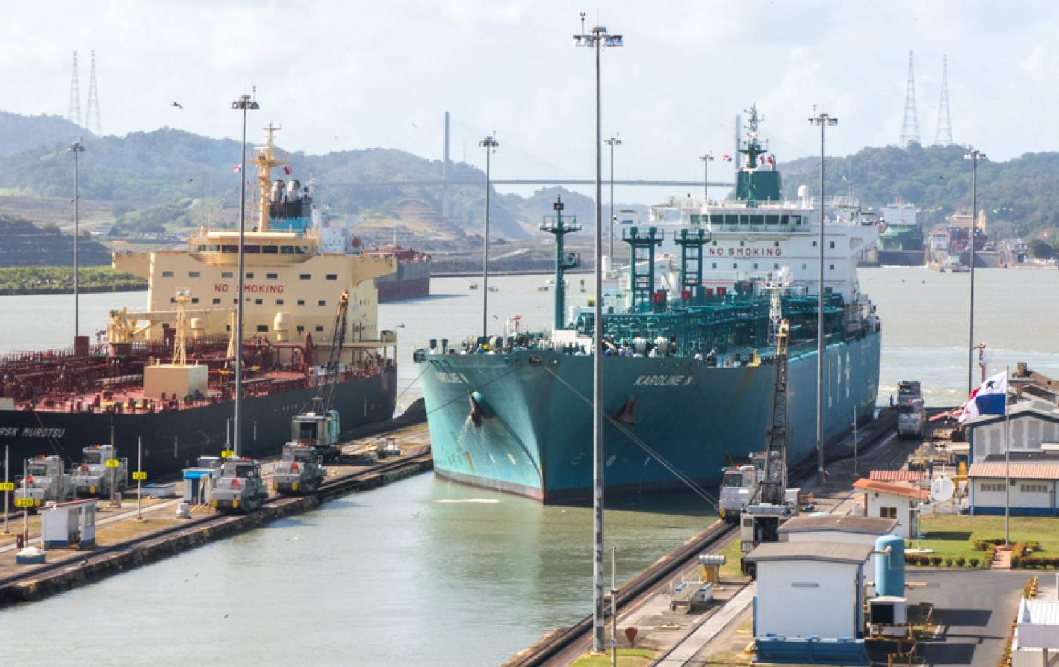 Cargo ships at the Panama Canal