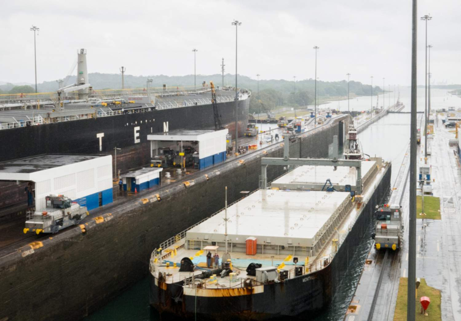 Boat in the locks at the Panama Canal
