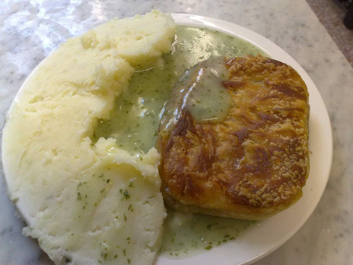 Traditional pie and mash in London, England