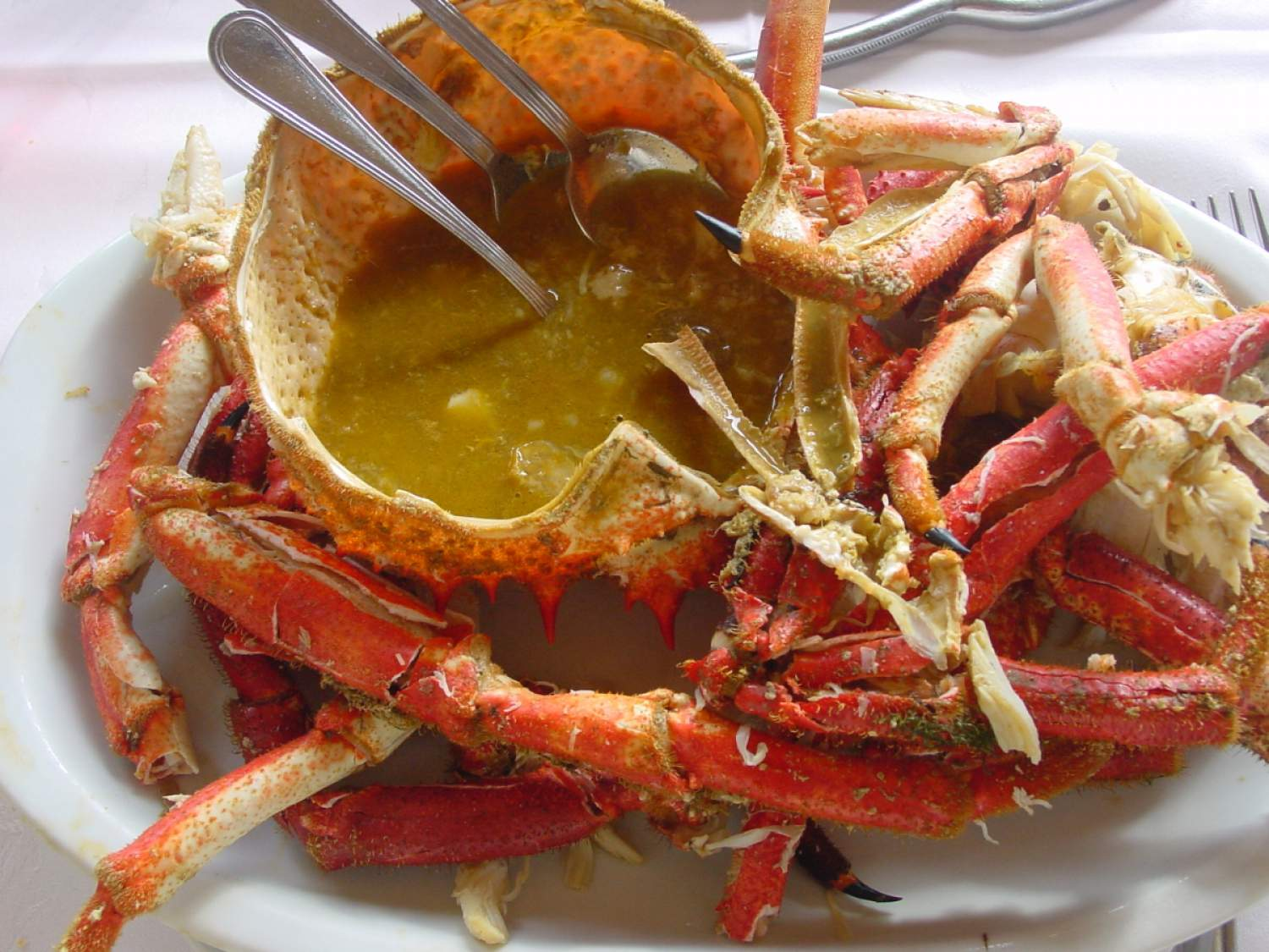 Whole crab with its sauce in Lisbon, Portugal