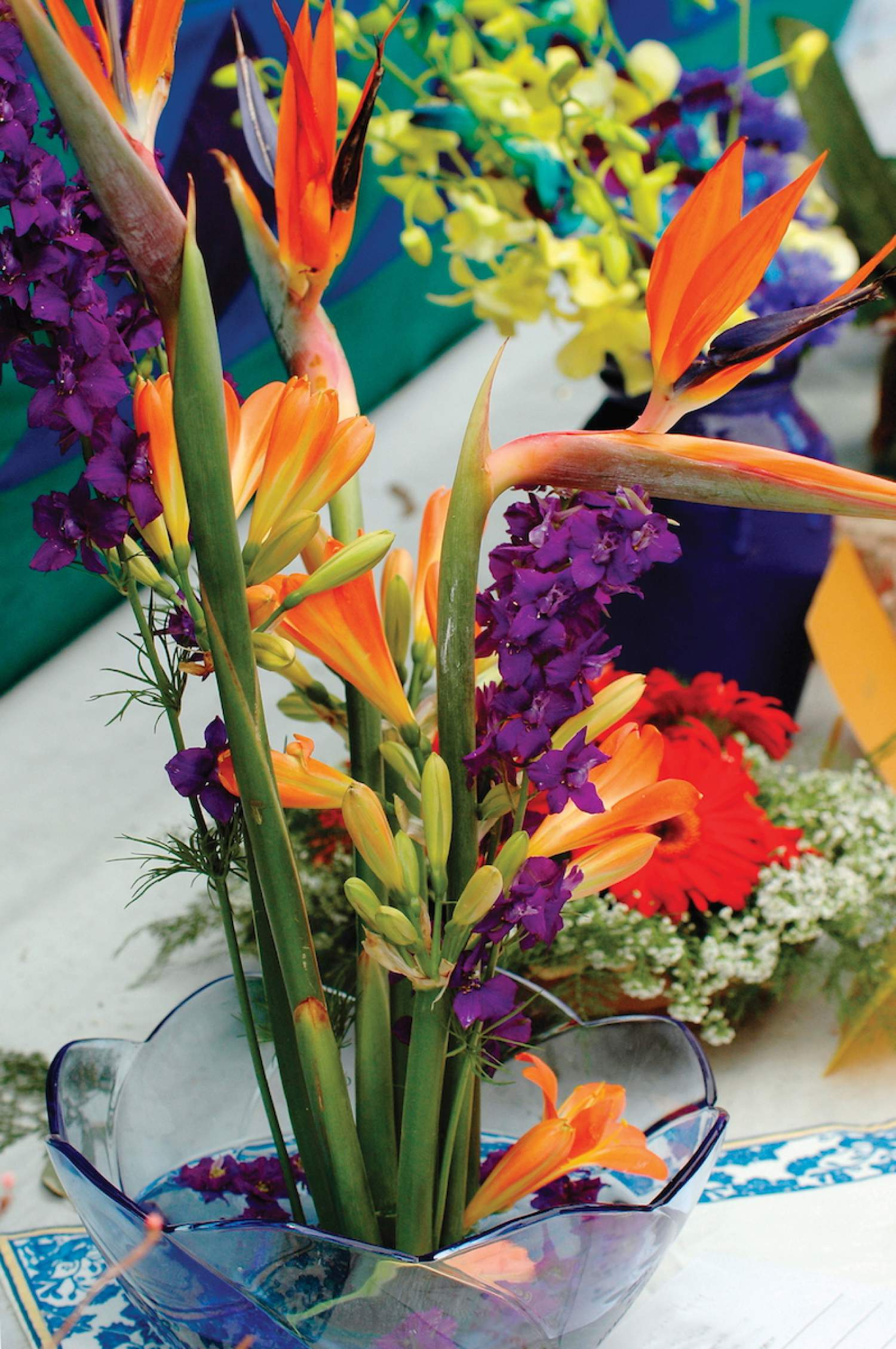 Birds of paradise flower arrangements for a beach wedding