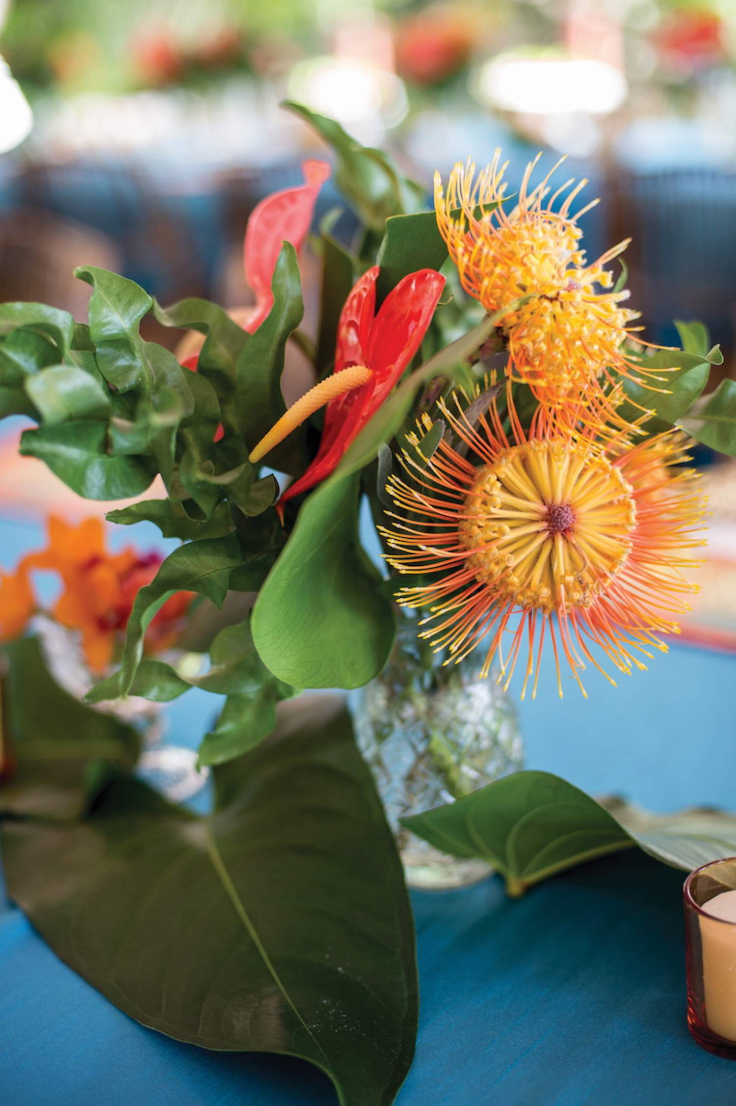 Passionflower flower arrangements for a beach wedding