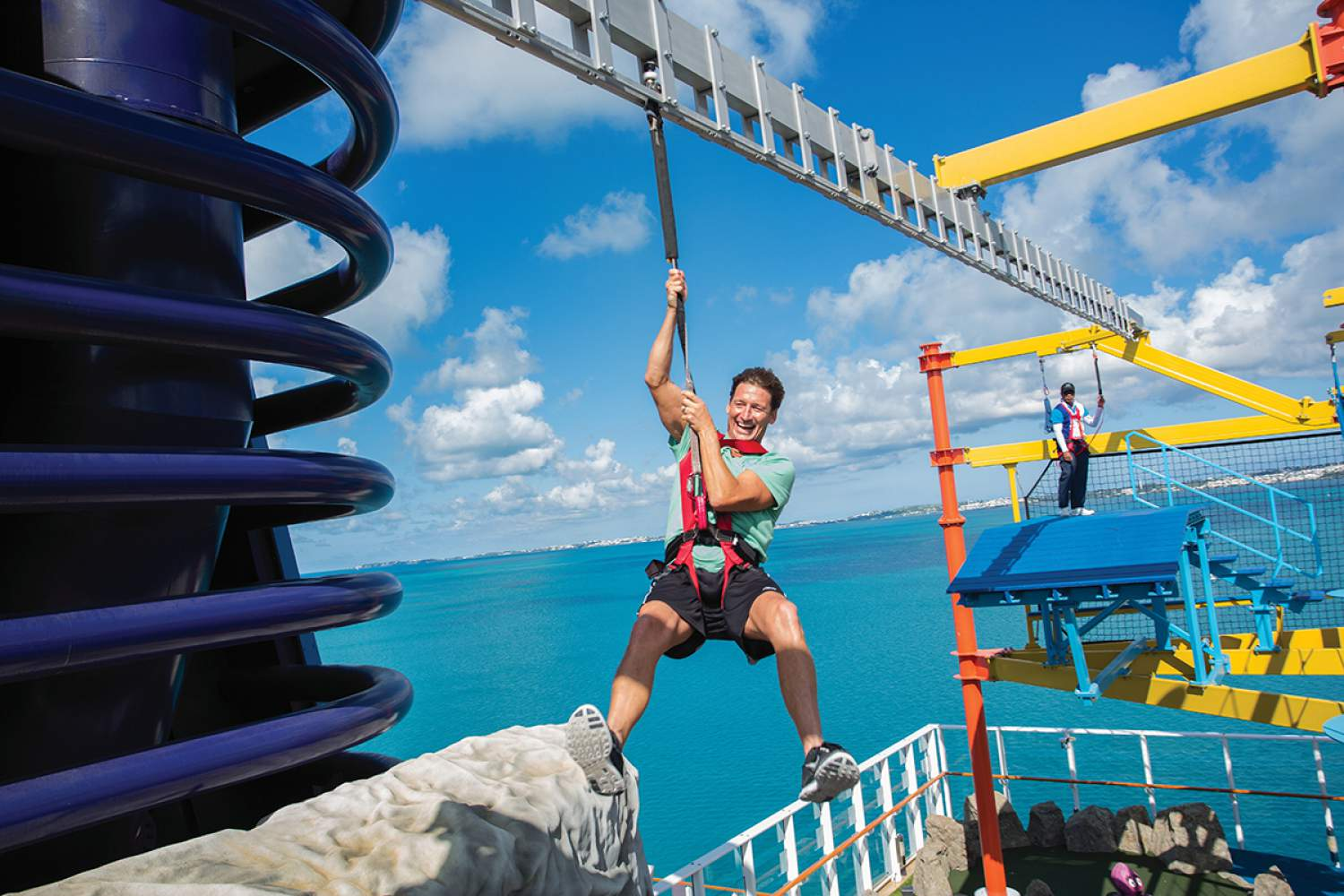 Ziplining on the Norwegian cruise