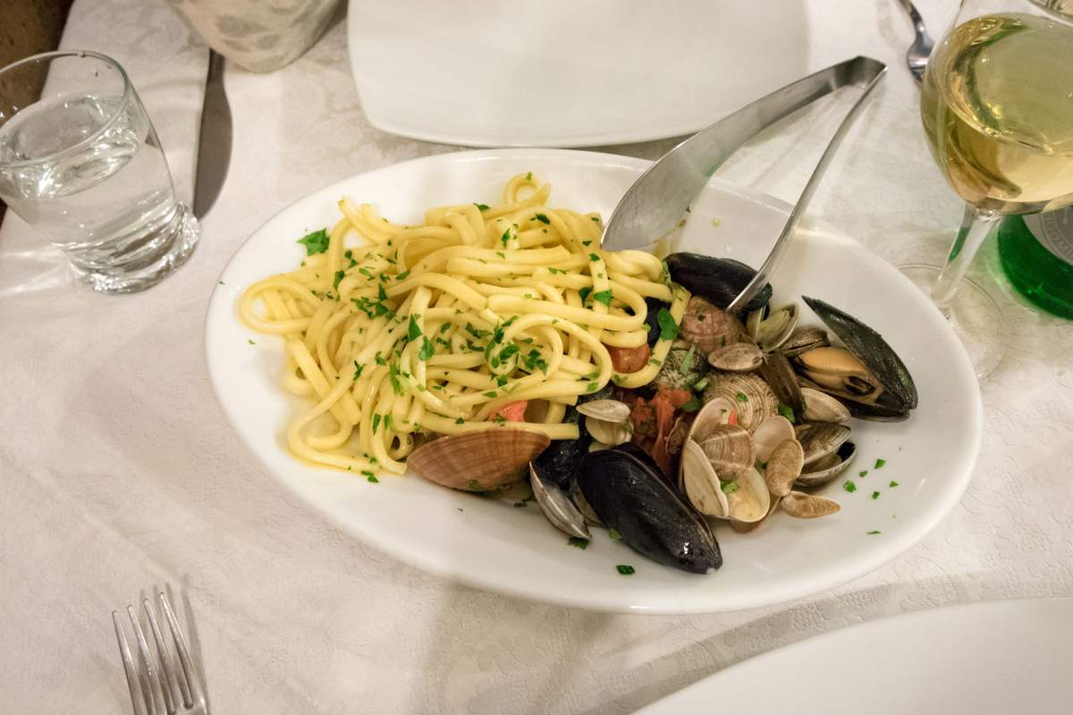 Spaghetti alle vongole in Naples, Italy