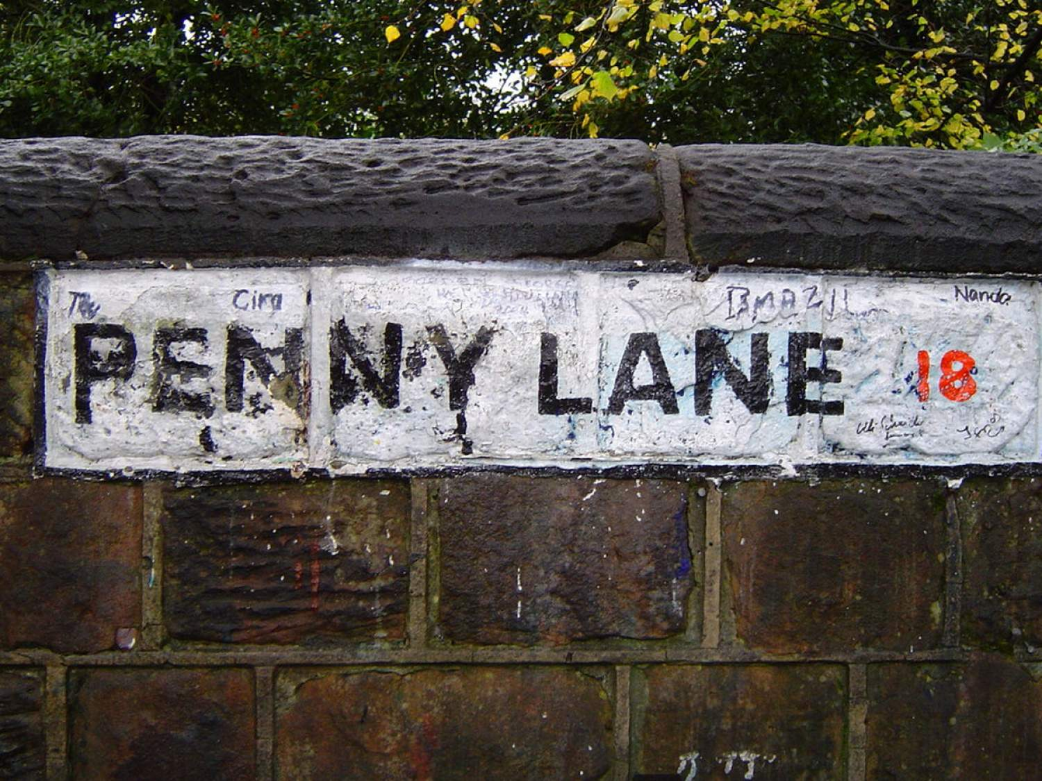 Painted sign of Penny Lane in Liverpool