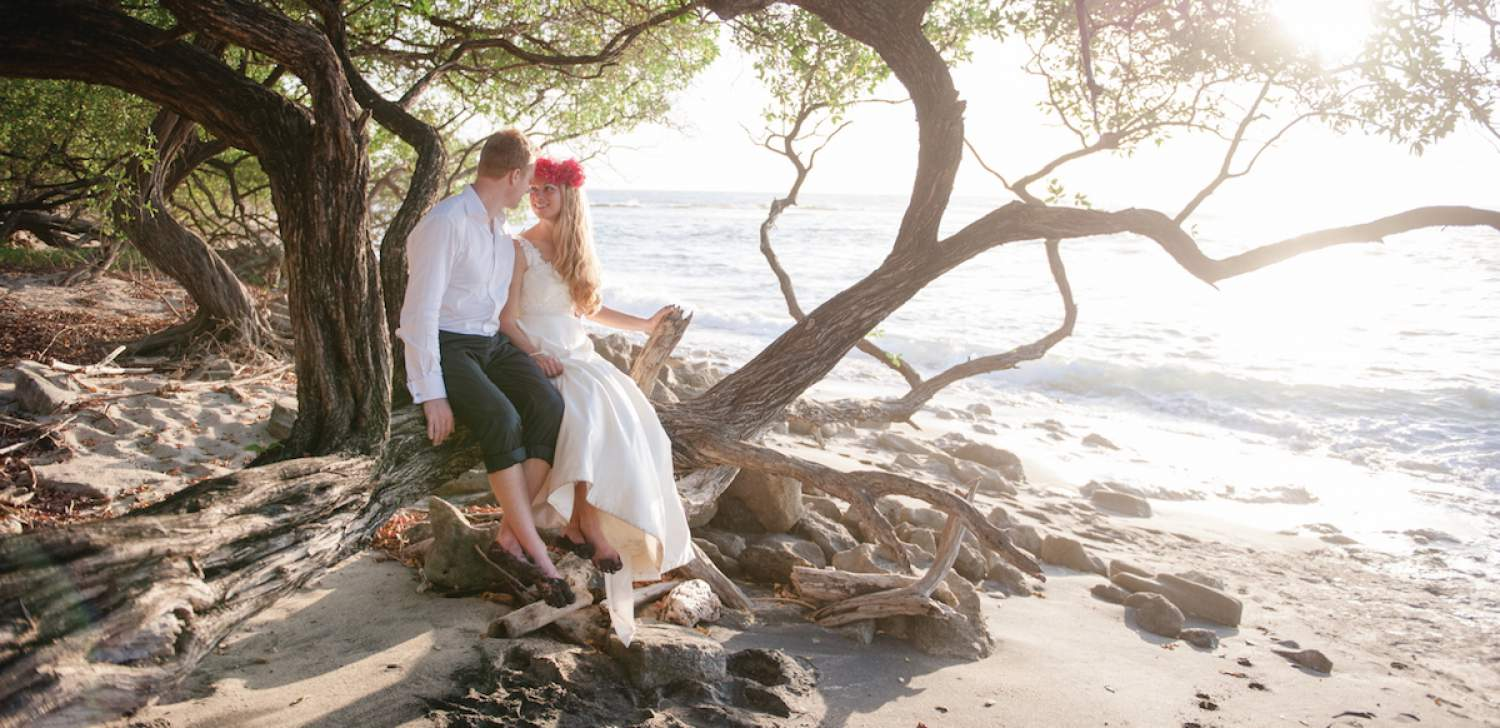Bride and groom on the beach at a destination wedding