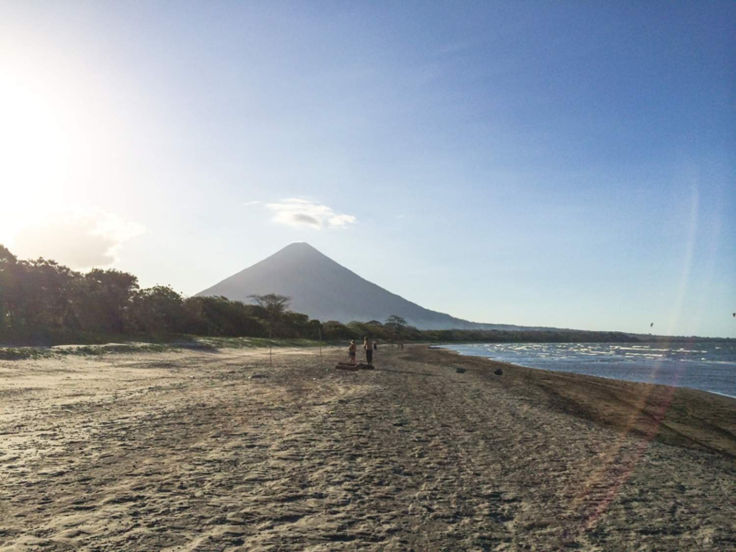 View of the volcano from the beach on Ometepe Island, Nicaragua