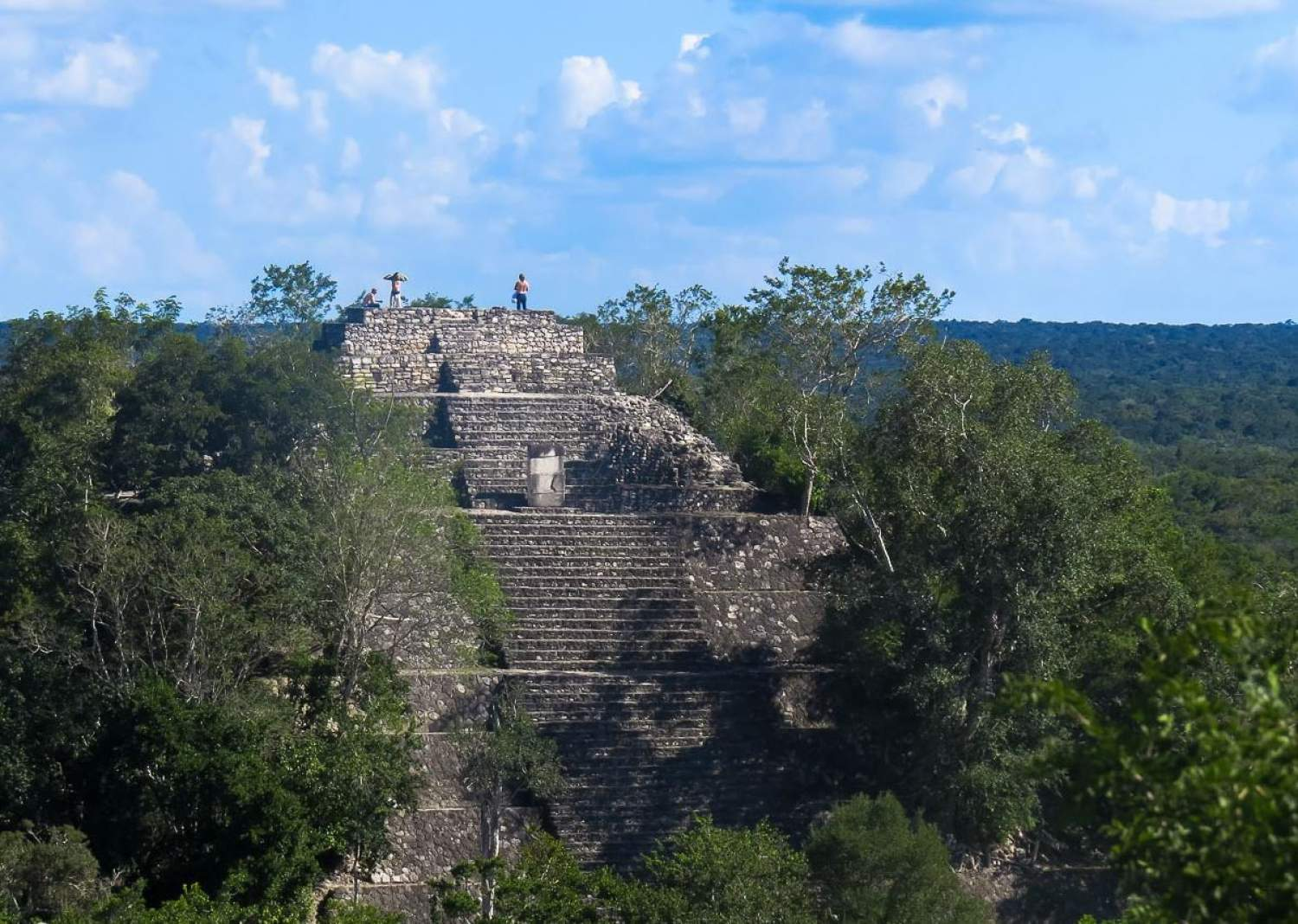 On top of Calakmul Pyramid, Mayan temple