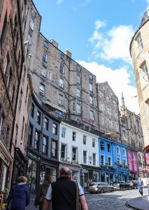 Victoria Street that inspired Harry Potter's Diagon Alley in Edinburgh, United Kingdom