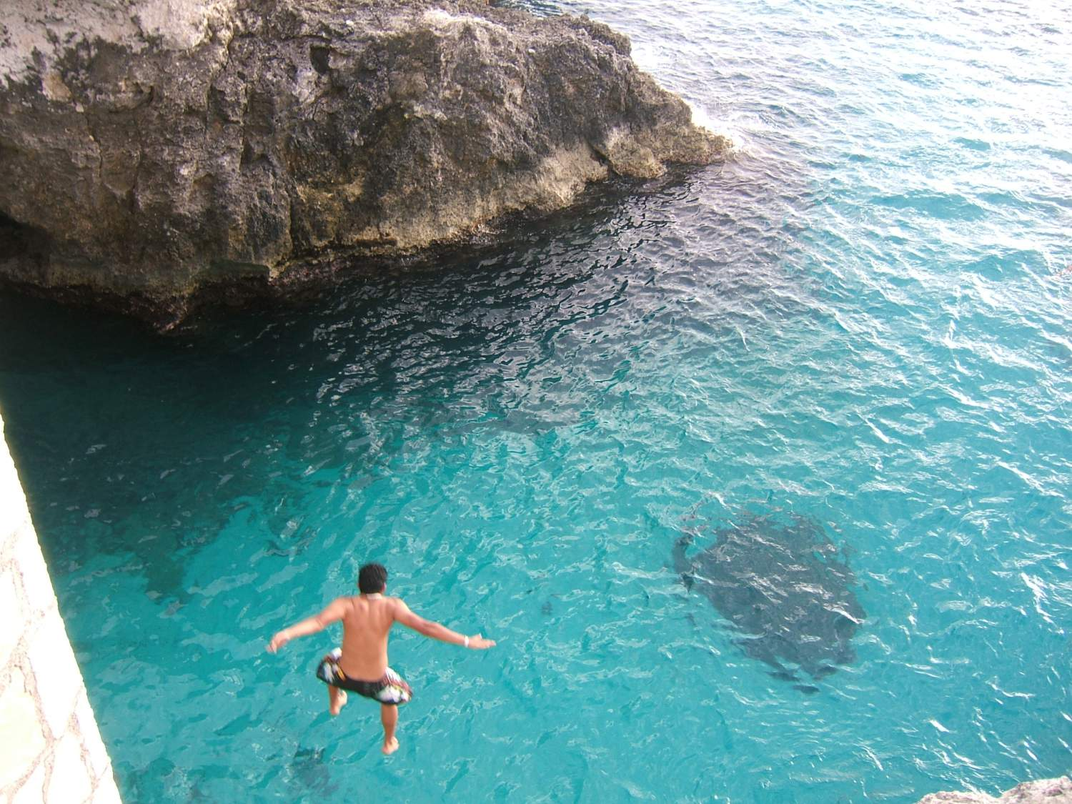 Cliff jumping in Jamaica