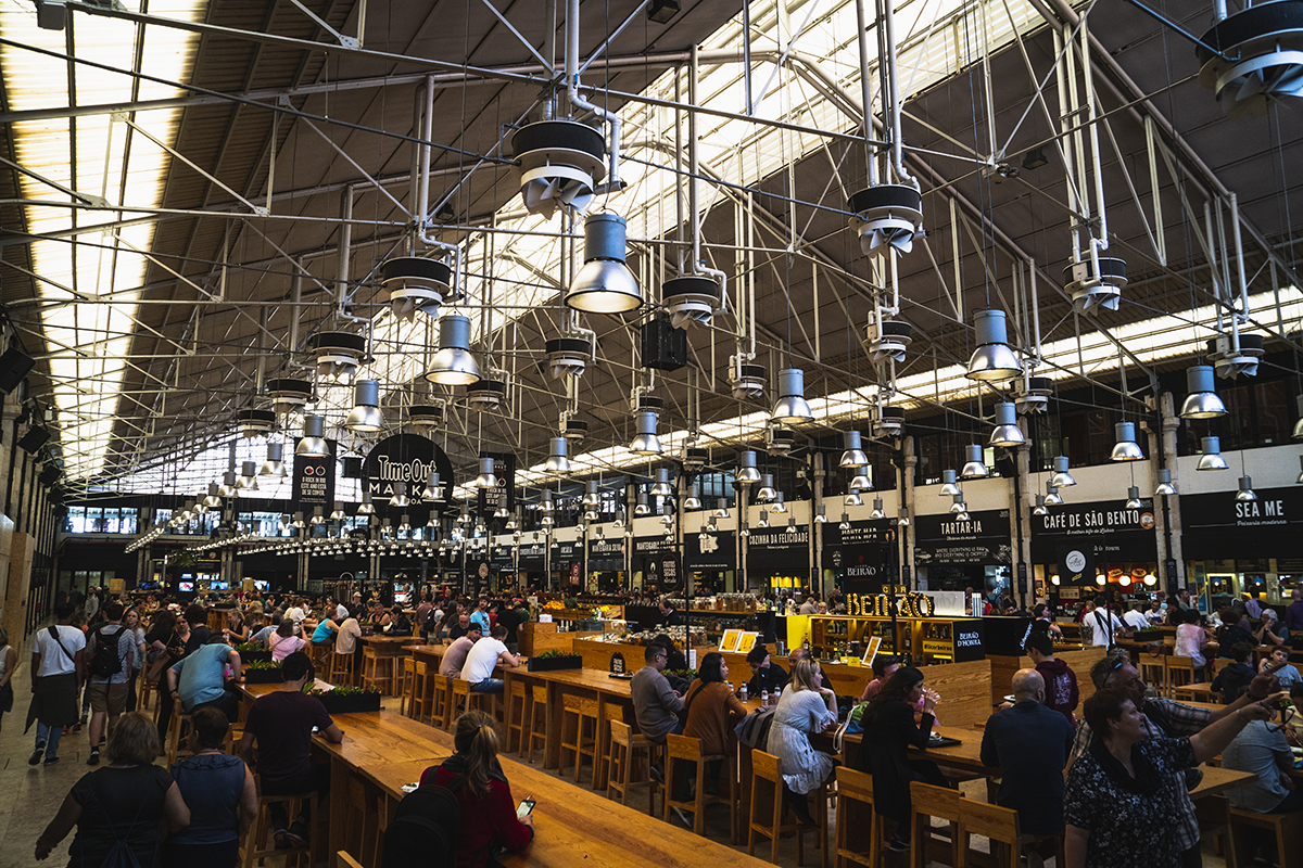 food stalls inside the time out market in Lisbon mercado da ribeira