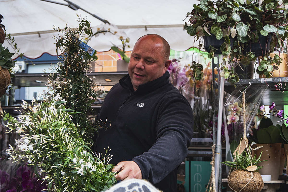 Vendor at the Columbia Road Flower Market in London