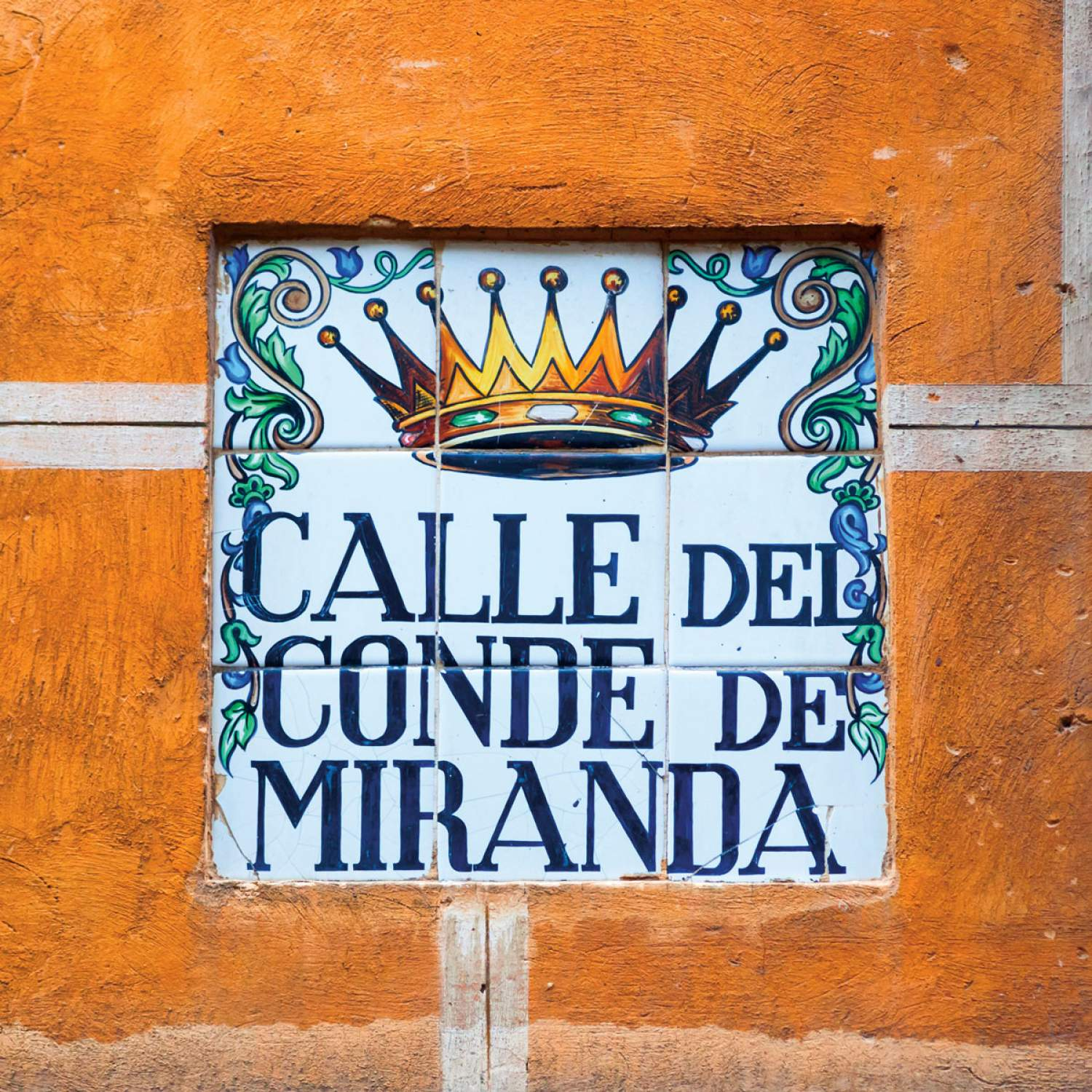 Ceramic street sign in Madrid, Spain