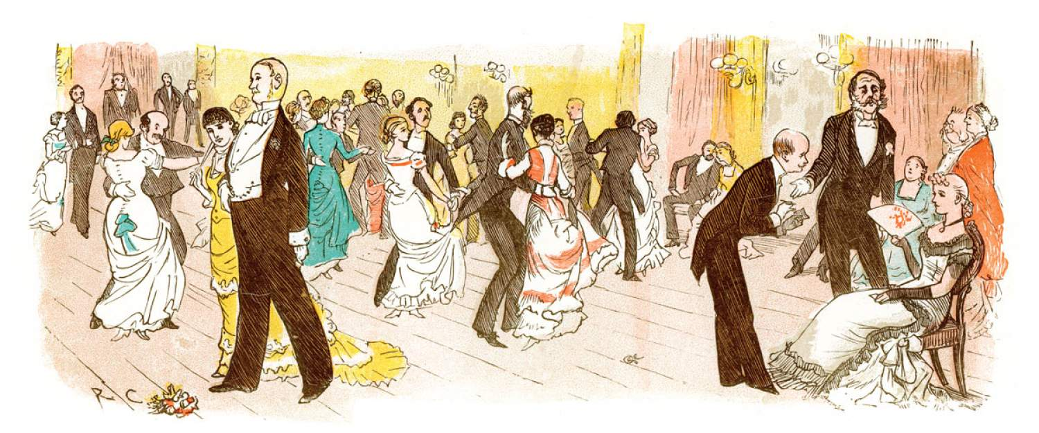 Drawing of a waltz in Vienna, Italy