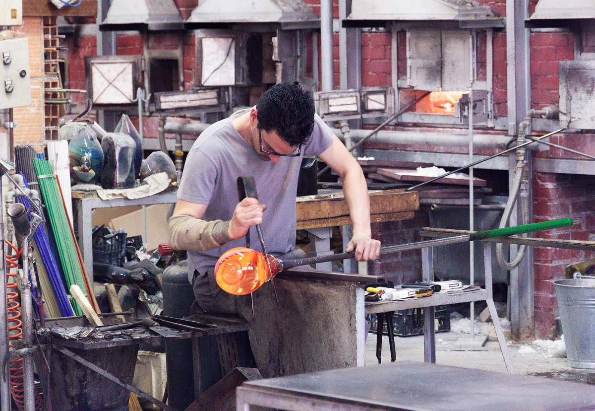 Glass blowing in Venice, Italy
