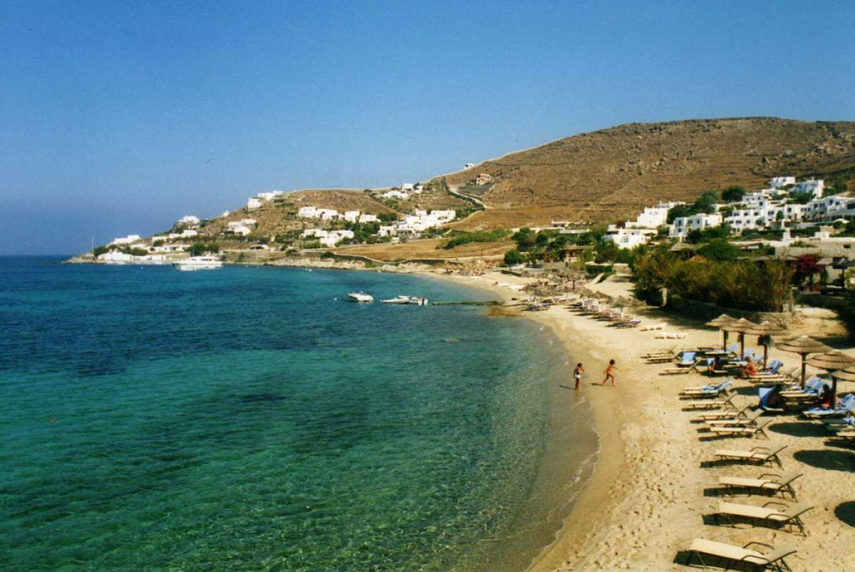 The beach at Aghios Ioannis in Mykonos, Greece