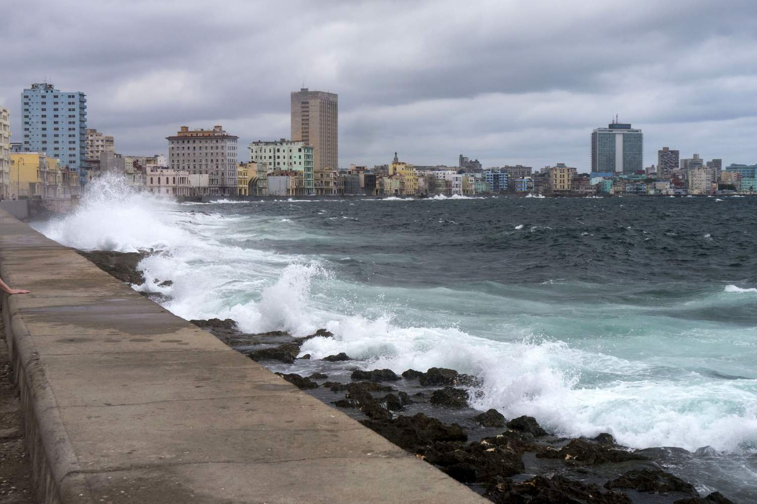 The Malecon, coast of the caribbean sea in Havana