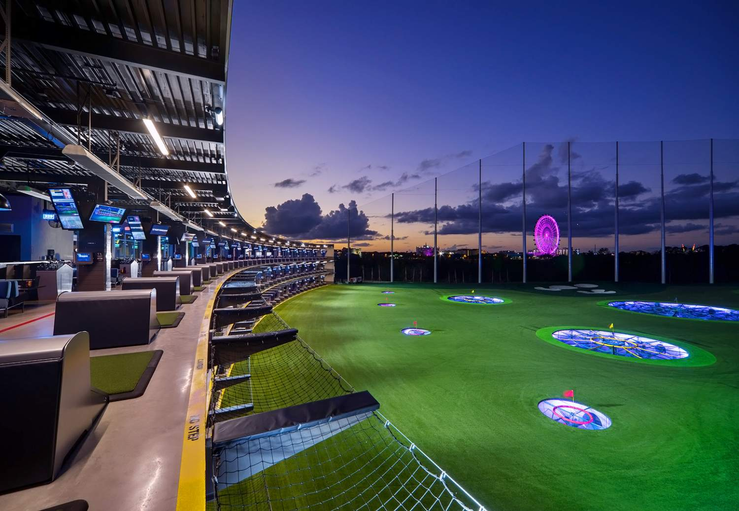 Driving range at TopGolf in Orlando