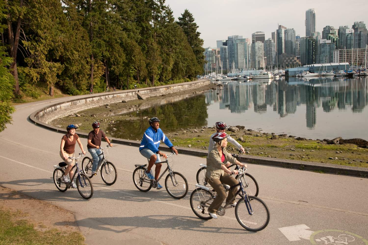 Group cycling in Stanley Park, Vancouver