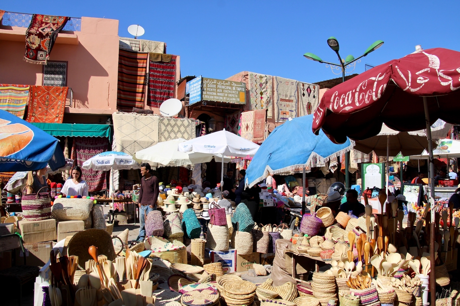 Spices and rugs at the Marrakech's market