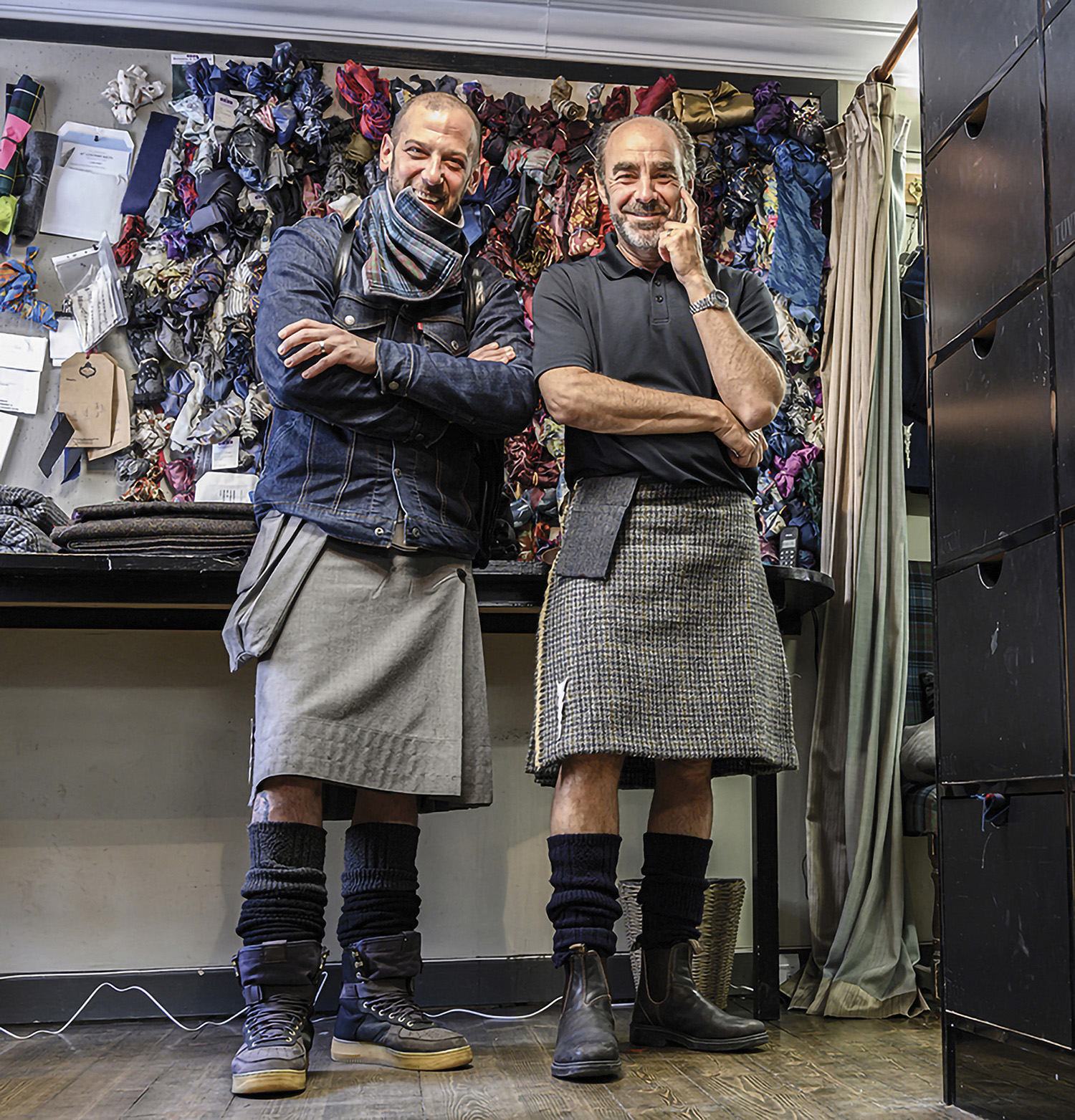 Kevin Spreekmeester and Howie Nicholsky in kilts