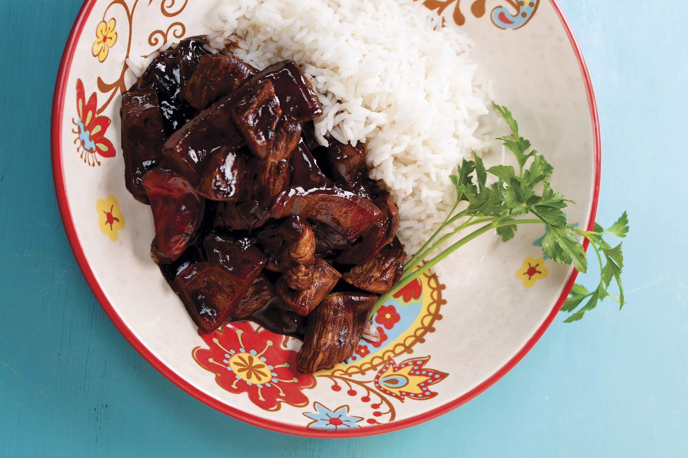 Chicken mole with rice