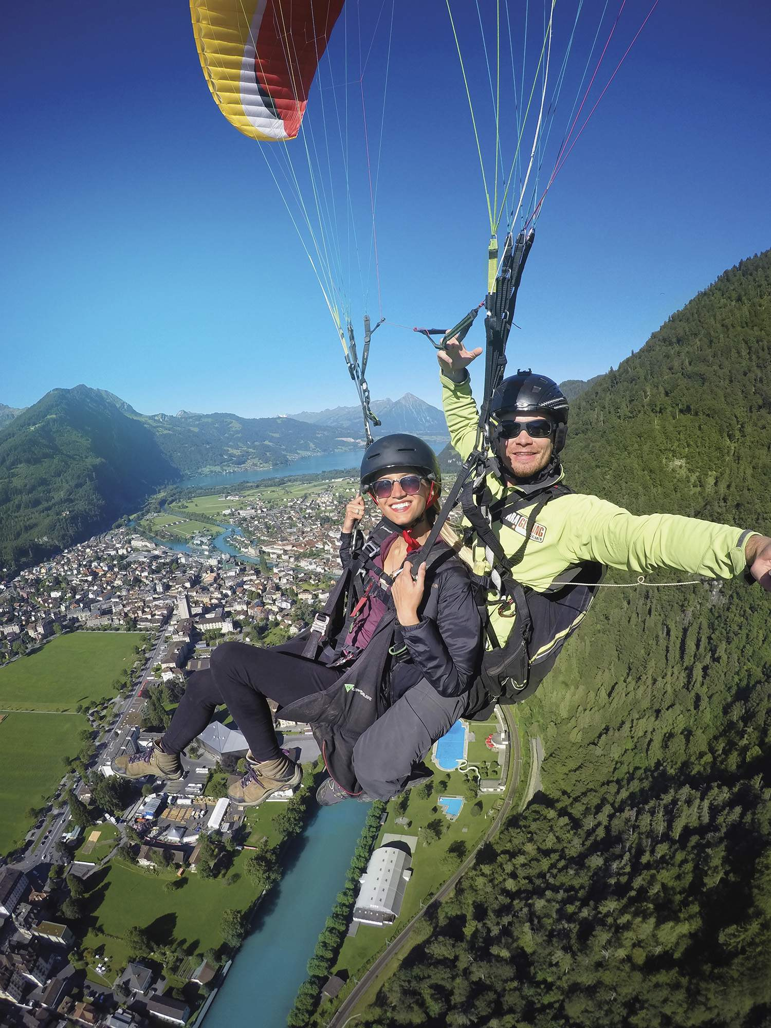 Lexie paragliding at Interlaken, Switzerland