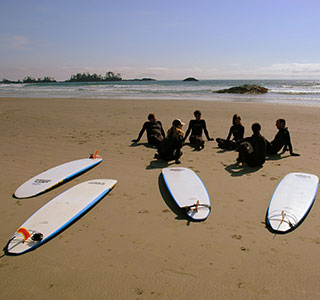 Surfers on Tofino Beach