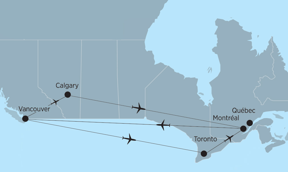 Carte Canada Montreal Toronto.Domestic Flights In Canada Air Transat