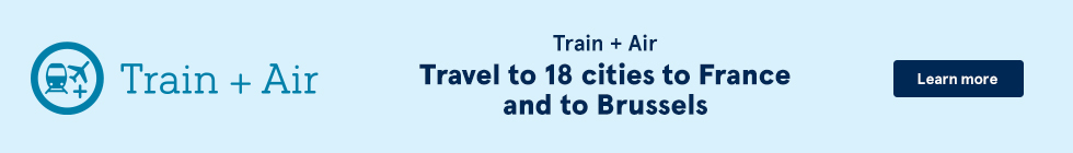 Train + Air. Travel to 18 cities in France and to Brussels. Learn more.