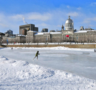Montreal old port during winter